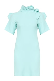 Deep Sky Blue Pleated Neckline Dress