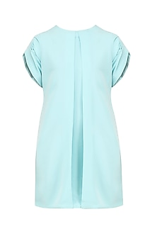 Deep Sky Blue Front Box Pleat Dress