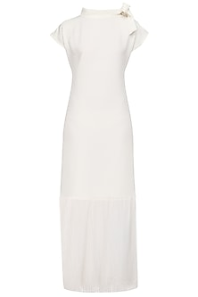 Ivory Semi Pleated Maxi Dress