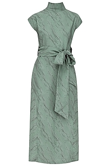 Teal Hairline Print Slit Dress