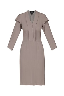Grey Layered Sleeves Knee Length Dress