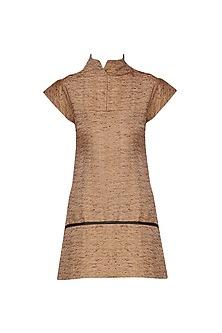 Rust Leather Detailed Top by Priyanka Gangwal