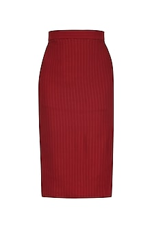 Red Side Slit Knee Length Pencil Skirt