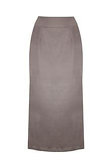 Steel Grey Side Slit Midi Skirt