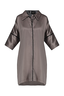 Steel Grey Leather Detailed Shirt Dress