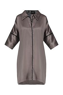 Steel Grey Leather Detailed Shirt Dress by Priyanka Gangwal
