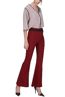 Red Pin Stripes Bell Bottoms by Priyanka Gangwal