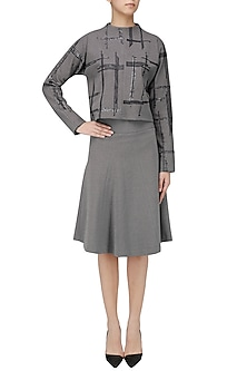 Grey Geometric Embroidered Sweater Top by Priyanka Gangwal