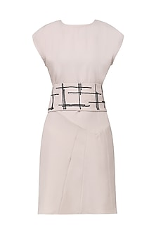 Nude Multi Panelled A-Line Dress