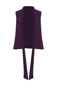 Deep Violet Front Open Vest by Priyanka Gangwal