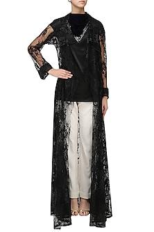 Black Lace Overlay Jacket by Priyanka Gangwal