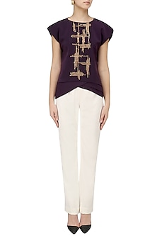Deep Violet Embroidered Top by Priyanka Gangwal
