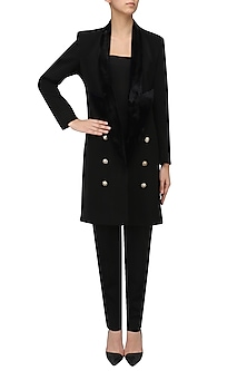 Black Velvet Lapel Overcoat by Priyanka Gangwal