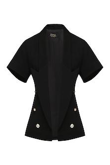 Black Double Breasted Crop Jacket by Priyanka Gangwal