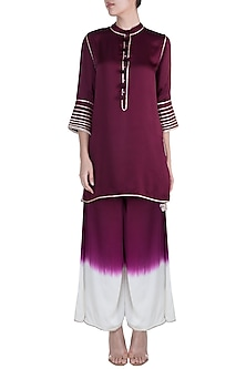 Wine High-Low Kurta With Ombre Pants by Payal Goenka