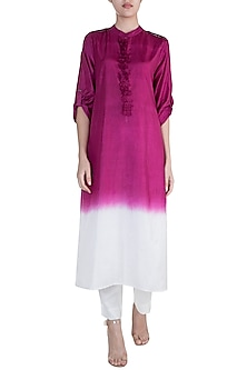 Pink Embellished Ombre Tunic With Pants by Payal Goenka