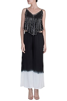 Black Embellished Asymmetrical Spaghetti Top With Ombre Pants by Payal Goenka