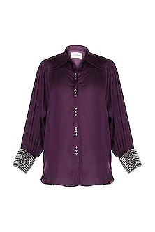 Wine Embellished Shirt by Payal Goenka