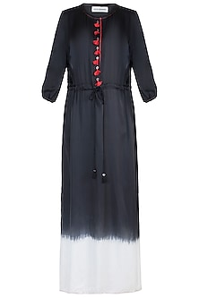 Black Embellished Ombre Front Tie-Up Tunic by Payal Goenka