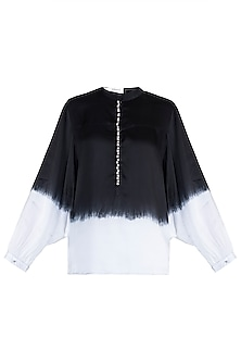 Black Embellished Ombre Shirt by Payal Goenka
