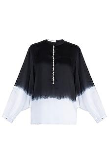 Black Embellished Ombre Shirt by Payal Goenka