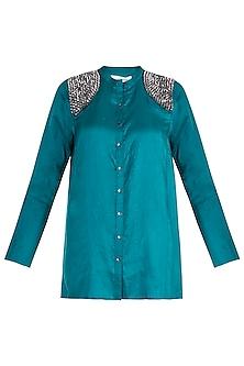 Emerald Green Embellished Shirt by Payal Goenka