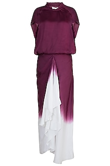 Wine Top With Ombre Draped Skirt by Payal Goenka