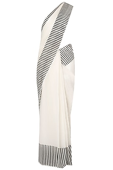 Black And White Printed Saree by Silk Waves