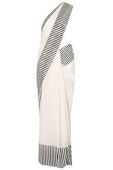 Black And White Printed Saree