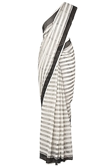 Black And White Block Printed Saree by Silk Waves