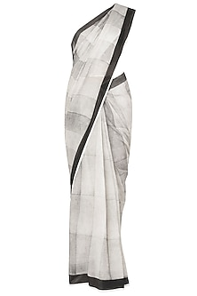 Black And White Block Printed Monochrome Saree