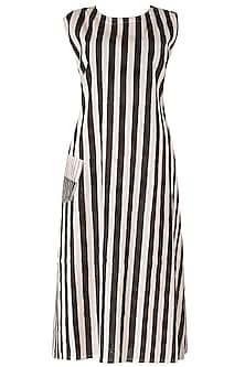 Black And White Midi Dress by Silk Waves