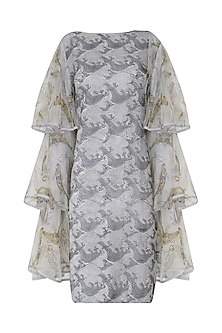 Grey Hand Block Printed Shift Dress