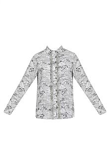 Grey and Block Printed Sky Ruffle Plcket Shirt.