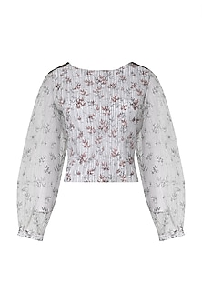 White and Red Hand Block Printed Top