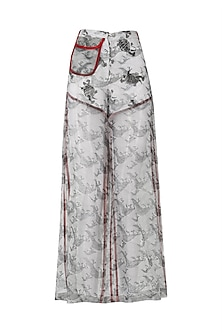Grey Hand Block Printed Wide Legged Pants