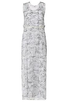 White Hand Block Print Maxi Dress