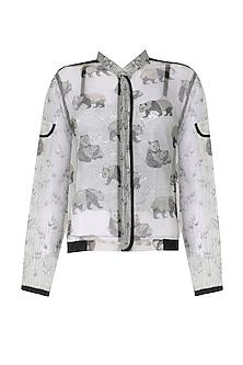 Grey Hand Block Panda Print Bomber Jacket.