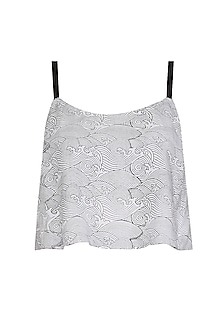 White and Black Hand Block Print Camisole Top