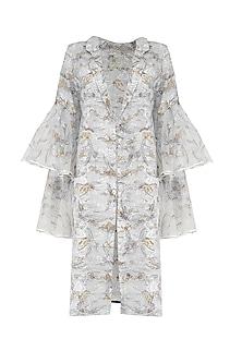 White Hand Block Printed Wrap Dress/Jacket