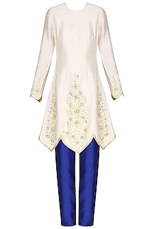 Off White Embroidered Kurta with Electric Blue Pants