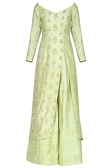 Lime Green Embroidered Kurta with Sharara Pants