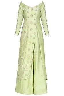 Lime Green Embroidered Kurta with Sharara Pants