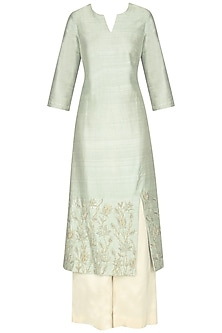 Mint Blue Embroidered Kurta with Off White Palazzo Pants