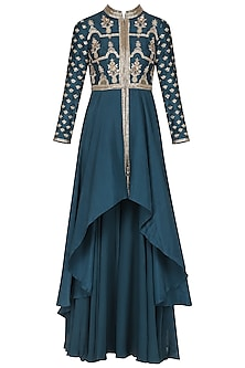 Dark Blue Embroidered Kurta with Sharara Pants