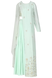 Mint Blue Embroidered Slit Cape with Blouse and Sharara Pants