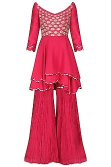 Coral Embroidered Kurta with Gharara Pants Set