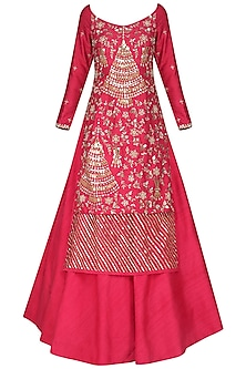Coral Embroidered Kurta with Lehenga Skirt Set
