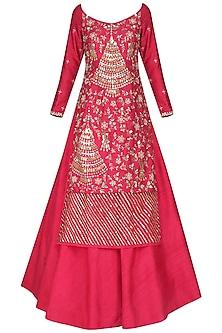 Coral Embroidered Kurta with Lehenga Skirt Set