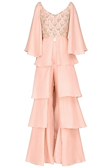 Pastel Pink Embroidered Layered Kurta with Sharara Pants